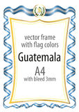 Frame and border  with the coat of arms and ribbon with the colors of the Guatemala flag Stock Photography