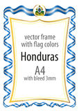 Frame and border  with the coat of arms and ribbon with the colors of the Honduras flag Royalty Free Stock Photos