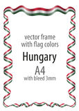 Frame and border  with the coat of arms and ribbon with the colors of the Hungary flag Royalty Free Stock Images