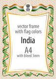 Frame and border  with the coat of arms and ribbon with the colors of the India flag Royalty Free Stock Photography