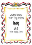 Frame and border  with the coat of arms and ribbon with the colors of the Iraq flag Royalty Free Stock Photos