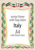 Frame and border  with the coat of arms and ribbon with the colors of the Italy flag Royalty Free Stock Images