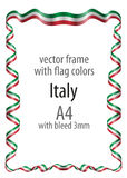 Frame and border  with the coat of arms and ribbon with the colors of the Italy flag Stock Photos