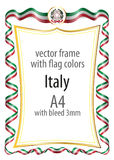 Frame and border  with the coat of arms and ribbon with the colors of the Italy flag Stock Photo