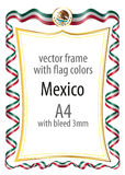 Frame and border  with the coat of arms and ribbon with the colors of the Mexico flag Royalty Free Stock Image
