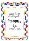 Frame and border  with the coat of arms and ribbon with the colors of the Paraguay flag Royalty Free Stock Images