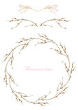 Frame border, decorative floral elements and wreath of the  branches with buds painted in a watercolor on a white background, gree Stock Photos