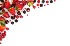 Frame border or edge of red fresh summer fruits Royalty Free Stock Photography