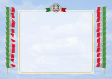 Frame and Border with flag and coat of arms Italy. 3d illustration Stock Photo