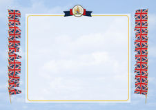 Frame and Border with flag and coat of arms United Kingdom. 3d illustration Stock Photography