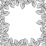 Frame border, floral decorative ornament with black leaves and branches Stock Photography