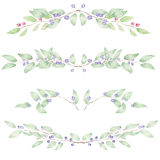 Frame border, floral decorative ornament with watercolor blueberries Stock Image