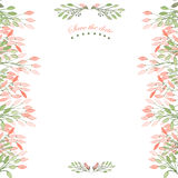 Frame border, floral decorative ornament with watercolor flowers, leaves and branches for wedding Royalty Free Stock Photography