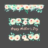 Frame border and floral garland with watercolor pink roses and mint fresh leaves Stock Photography