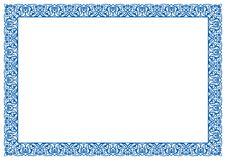 Frame & Border Floral Ornament in Blue For Certificate Stock Photo