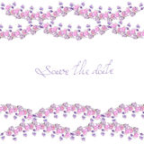 Frame border with garland, template for postcard with purple and pink flowers painted in watercolor  on a white background, greeti Royalty Free Stock Photos
