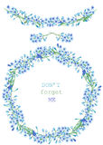 Frame border, garland and wreath of the blue flowers of forget-me-not (Myosotis), painted in a watercolor on a white background, g Royalty Free Stock Photos