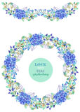 Frame border, garland and wreath of the blue Hydrangea flowers and green leaves Royalty Free Stock Photography