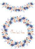 Frame border, garland and wreath of  blue and tender pink flowers and branches with the blue leaves painted in watercolor  on a wh Royalty Free Stock Images