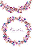 Frame border, garland and wreath of  purple flowers and branches with the violet leaves painted in watercolor  on a white backgrou Royalty Free Stock Images