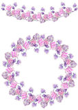 Frame border, garland and wreath of  purple flowers painted in watercolor   Stock Image