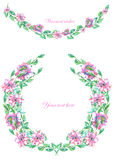 Frame border, garland and wreath of  purple flowers painted in watercolor  on a white background, greeting card, decoration postca. Circle frame, wreath and Stock Photography