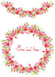 Frame border, garland and wreath of  purple and red flowers Royalty Free Stock Photo