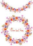 Frame border, garland and wreath of  purple and red flowers painted in watercolor Stock Photos