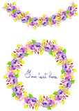 Frame border, garland and wreath of  purple and yellow flowers and branches. Circle frame, wreath and garland of purple and yellow flowers and branches with the Royalty Free Stock Photos