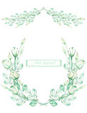 Frame border, garland and wreath of the tender green roses, painted in a watercolor on a white background, greeting card Stock Image