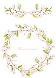 Frame border, garland and wreath of the tender pink blooming flowers and branches with the green leaves painted in a watercolor on Royalty Free Stock Photo