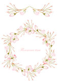 Frame border, garland and wreath of the tender pink blooming flowers, painted in a watercolor on a white background, greeting card Royalty Free Stock Images