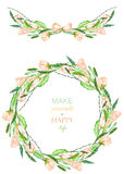 Frame border, garland and wreath of the tender pink spring flowers with the green leaves painted in a watercolor. On a white background, greeting card Royalty Free Stock Images