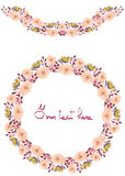 Frame border, garland and wreath of  yellow and tender pink flowers and branches Stock Images