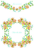 Frame border, garland and wreath of  yellow and tender pink flowers and branches with the green and blue leaves painted in waterco Royalty Free Stock Image