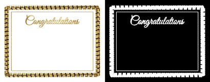 Frame and border from a gold ribbon with the inscription. `Congratulations`. 3d illustration royalty free illustration