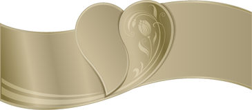 Frame - border of the golden ribbon with the image of heart in t Royalty Free Stock Photos