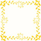 Yellow Autumn Leafs Border Frame. Frame border with golden yellow branch leafs in autumn or summer colors Stock Photography