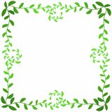 Olive leaf branches square frame. Frame border with green olive leafs forming a square with curly branches royalty free illustration