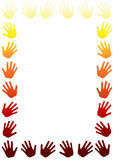 Hot Fire Hands Border Frame. Frame border with hands around with hot fire colors. Space to write message on the middle Stock Photo
