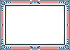 Frame or border, with Patriotic american flag style and color design. White, red and blue. suitable for certificate border or frame, wedding, menu, cover, and royalty free illustration