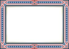 Frame or border, with Patriotic american flag style and color design. White, red and blue. suitable for certificate border or frame, wedding, menu, cover, and stock illustration