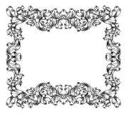 Frame Border Pattern Filigree Scroll Leaf Vintage royalty free illustration