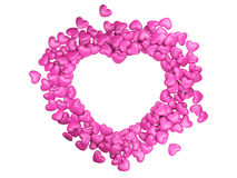 Frame border for photo from pink hearts. 3d illustration on a grey background Royalty Free Stock Images