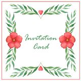 Frame border, with flowers and branches, painted in watercolor vector illustration