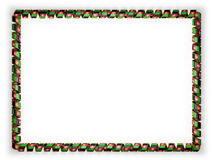 Frame and border of ribbon with the Afghanistan flag, edging from the golden rope. 3d illustration Stock Photography