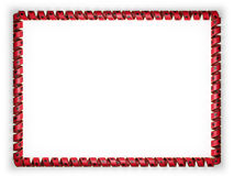 Frame and border of ribbon with the Albania flag, edging from the golden rope. 3d illustration Stock Image