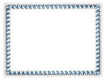 Frame and border of ribbon with the Argentina flag, edging from the golden rope. 3d illustration Stock Images