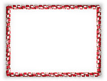 Frame and border of ribbon with the Bahrain flag, edging from the golden rope. 3d illustration Stock Photo