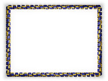 Frame and border of ribbon with the Barbados flag, edging from the golden rope. 3d illustration Royalty Free Stock Image